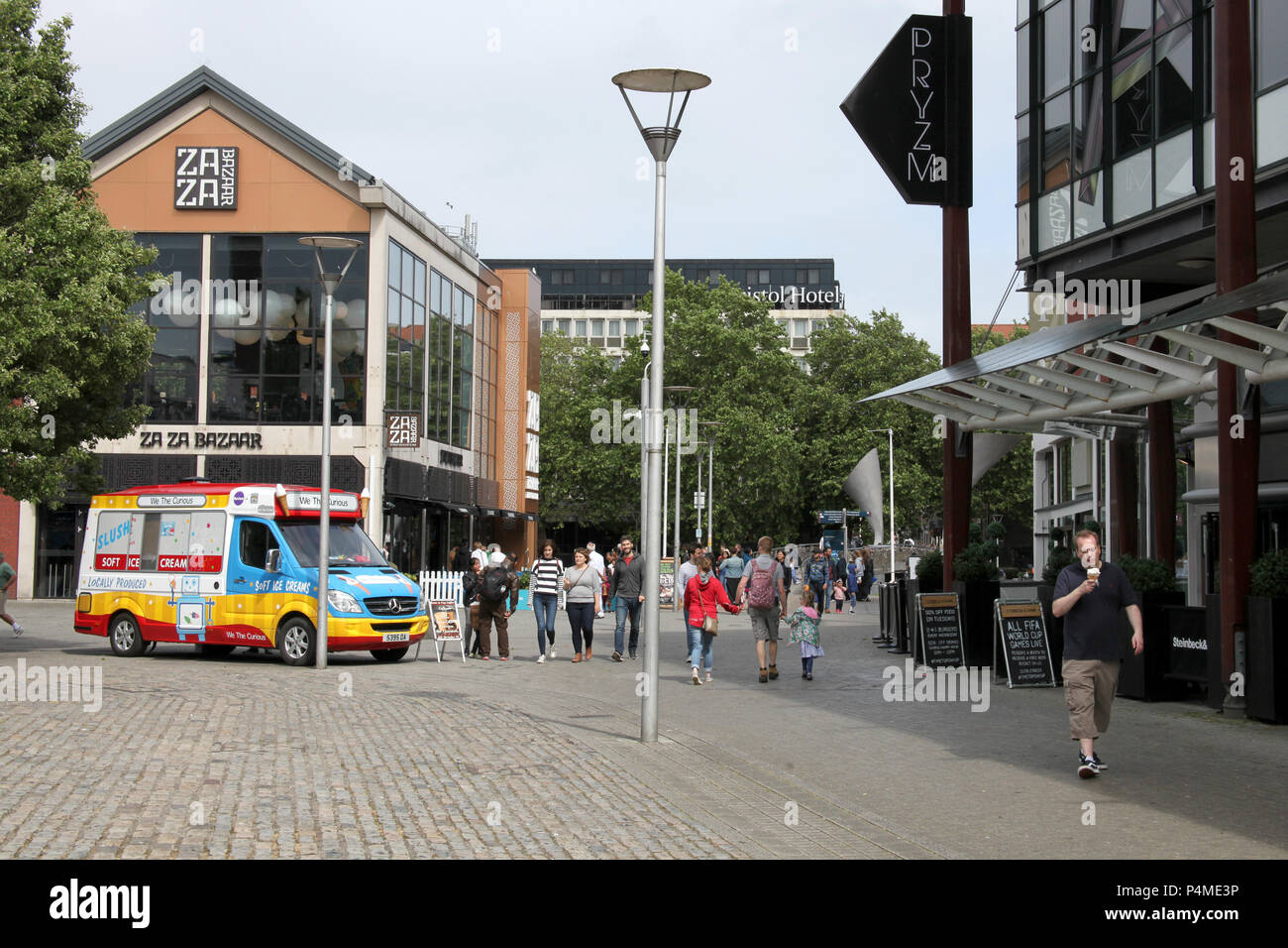 An ice cream van from We Are Curious sits outside Za Za Bazaar in Bristol, England. - Stock Image