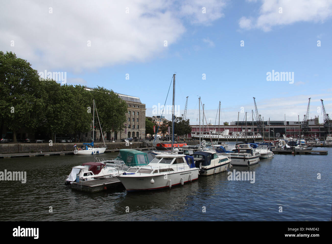 Yachts at Broad Quay in Bristol, England. - Stock Image