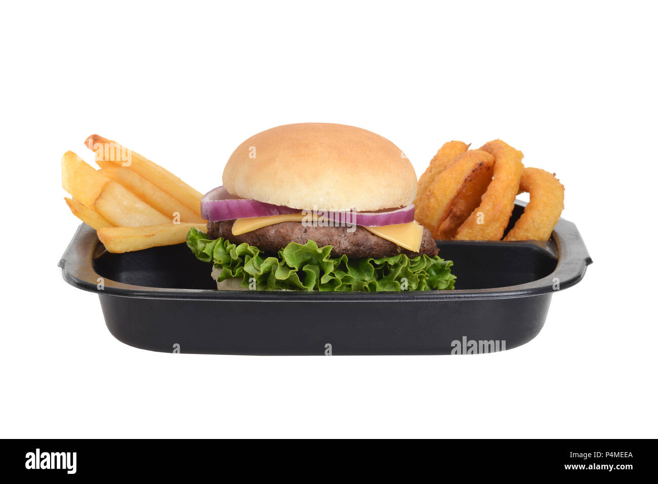 isolated hamburger tv dinner - Stock Image