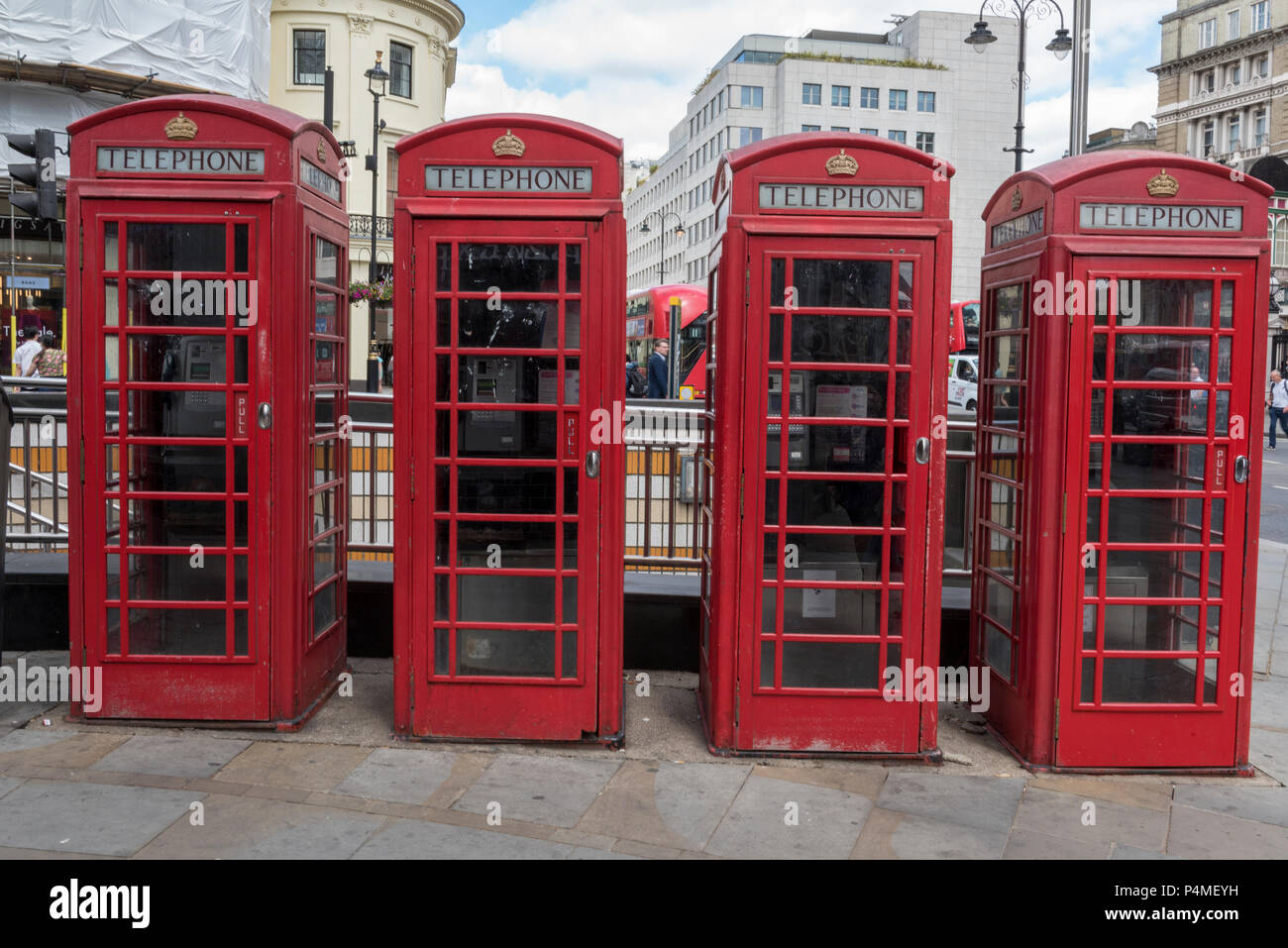 red telephone boxes or call boxes, lonon - Stock Image