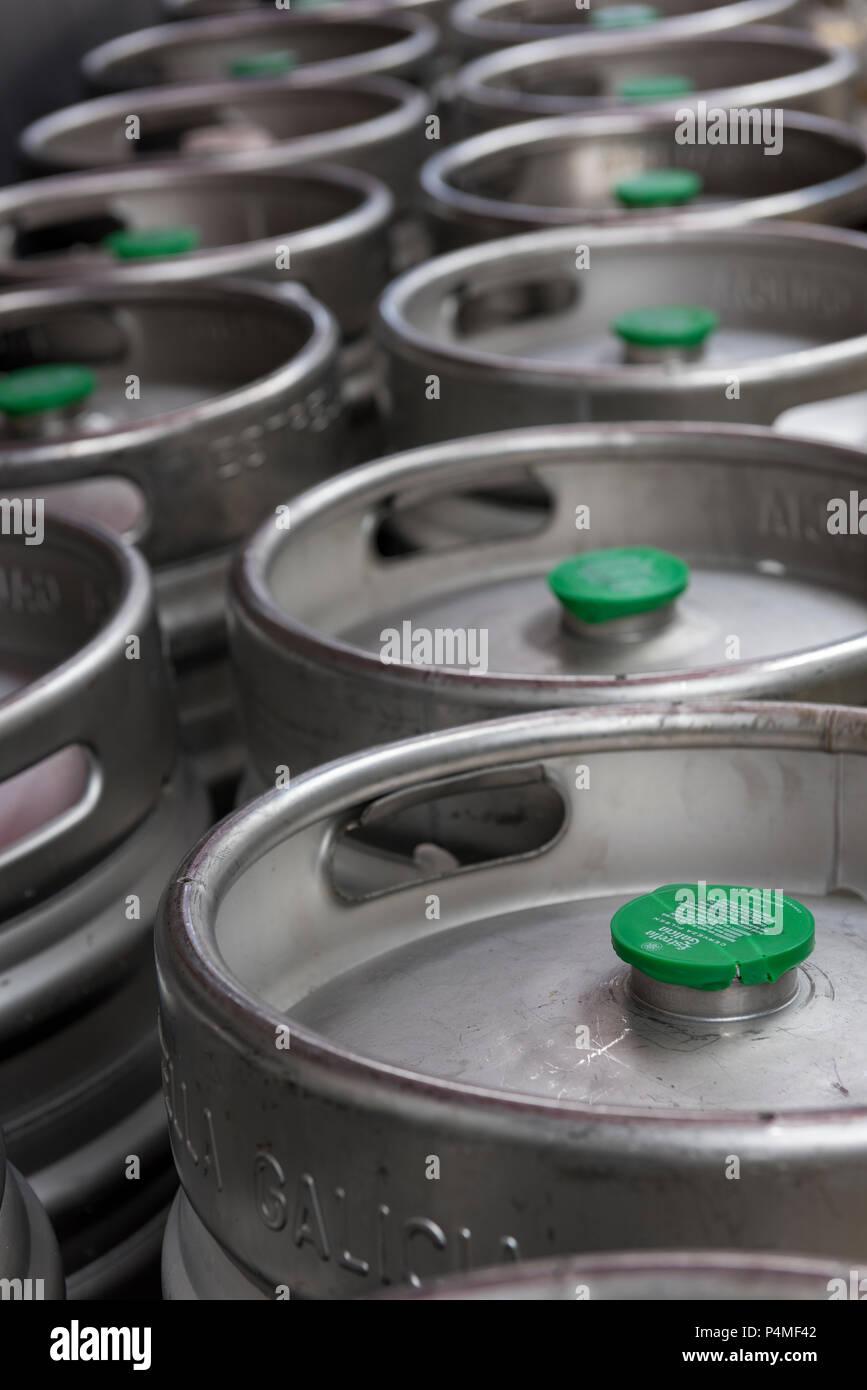 aluminium beer barrels kegs - Stock Image