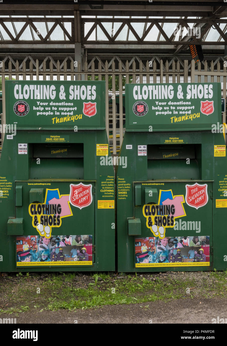 charity recycling bins - Stock Image