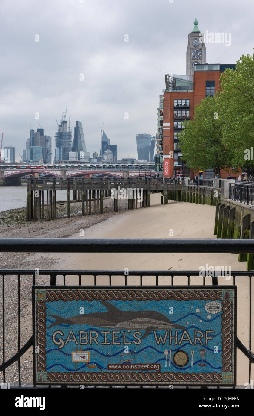 Gabriels wharf, river thames, london. - Stock Image
