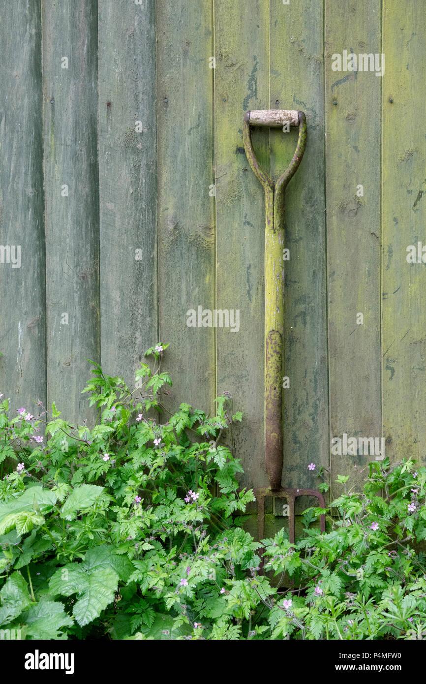 Old garden fork against an old garden fence. Oxfordshire, UK - Stock Image