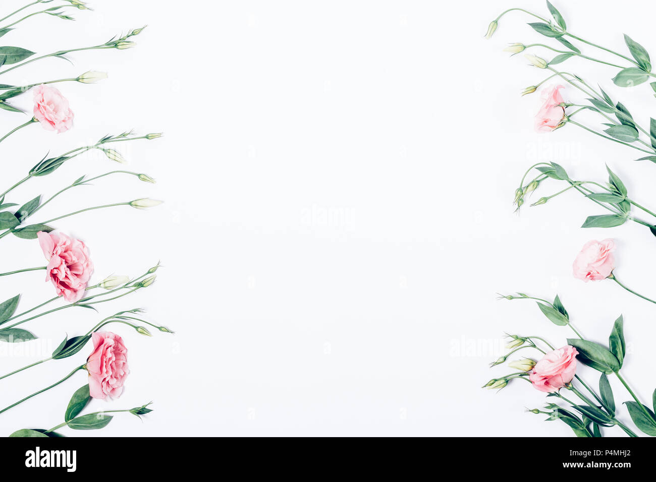 Floral flat lay frame of pink flowers on white background borders floral flat lay frame of pink flowers on white background borders with empty space in the center made of blooming eustomas leaves and buds top view mightylinksfo