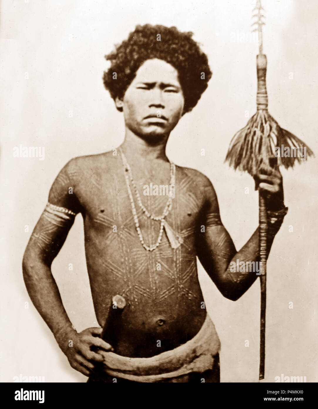 A tribal warrior or hunter, Victorian period - Stock Image