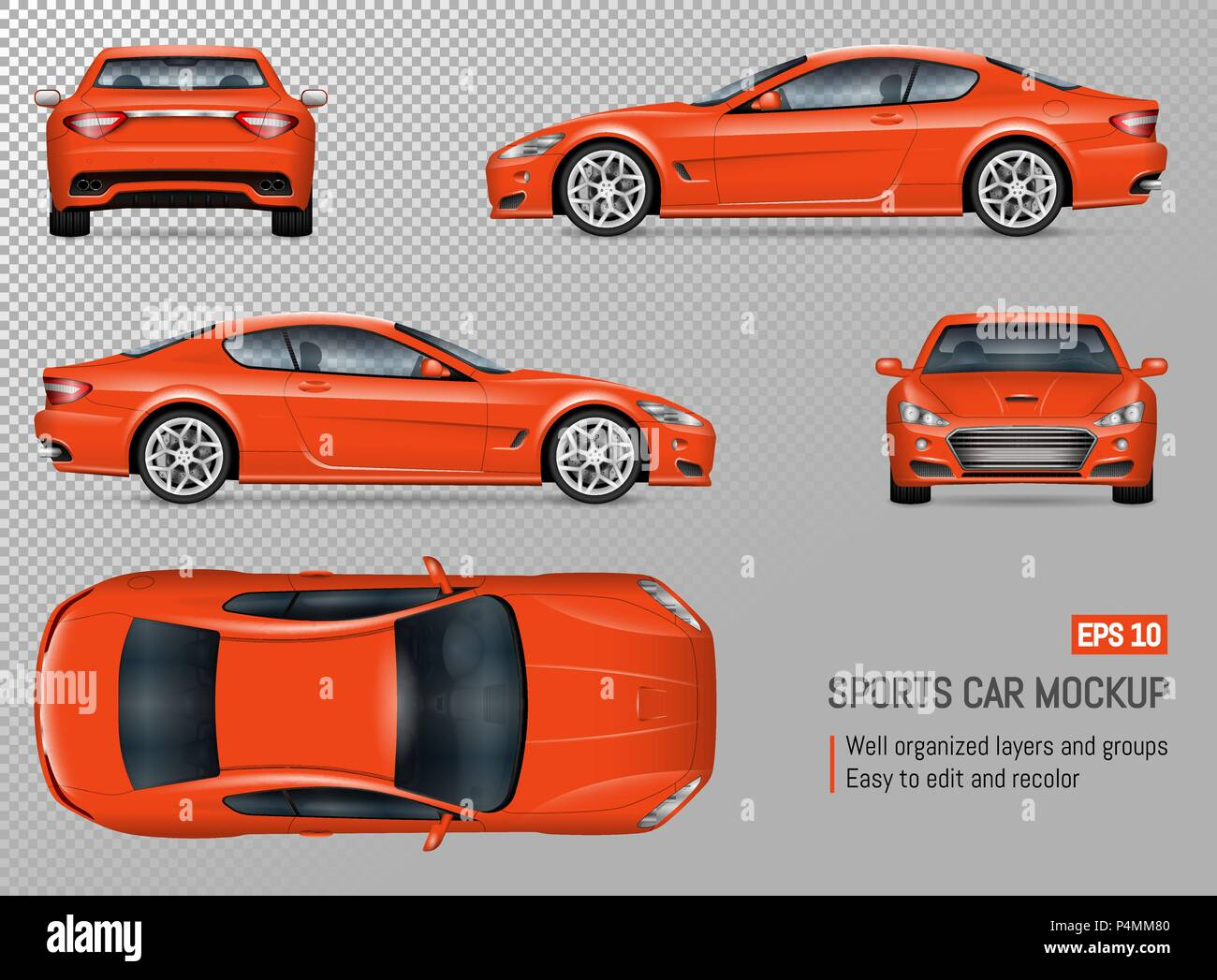 Sports Car Vector Mockup Isolated Template Of Supercar On