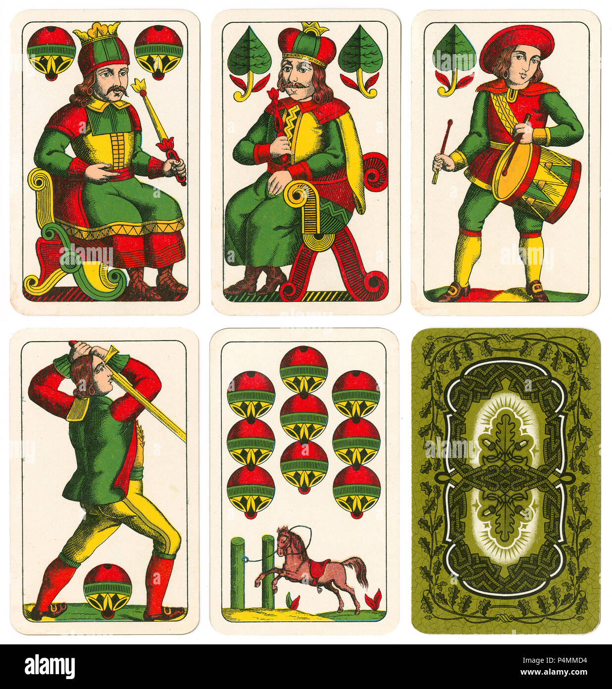 A selection of vintage Bohemian pattern playing cards, with oak leaf back, based on early 16th-century German designs. - Stock Image