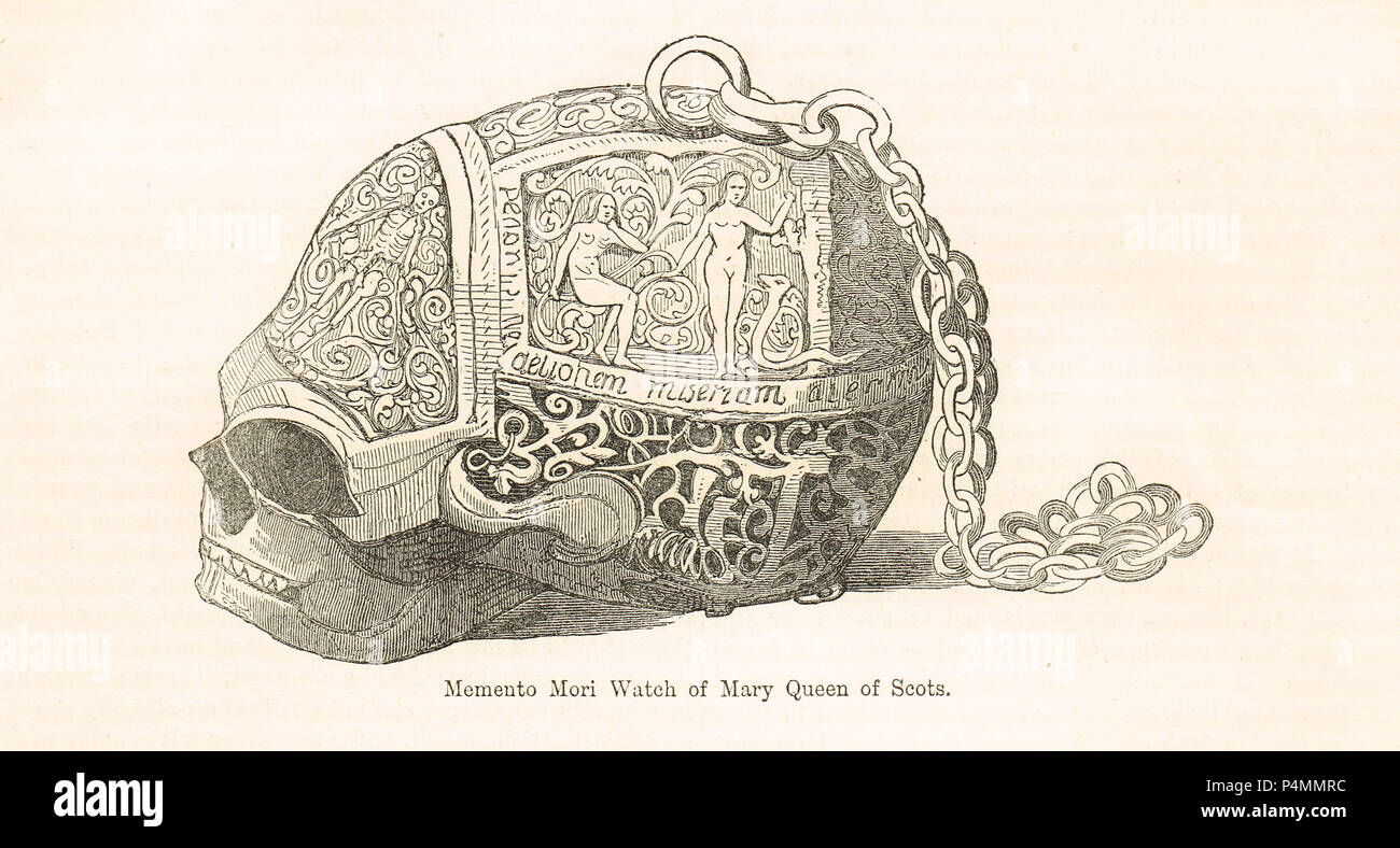 A Memento-mori Watch, said to have been presented by Mary Queen of Scots to Mary Seton before her execution.  One of the four attendants of Mary Queen of Scots known as the Four Marys - Stock Image
