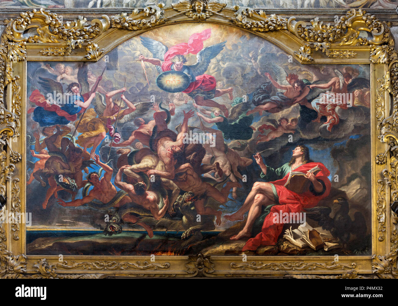 PARMA, ITALY - APRIL 15, 2018: The painting of The Battle of the Angels after Apocalypse of St. John in church Chiesa di San Giovanni Evangelista - Stock Image
