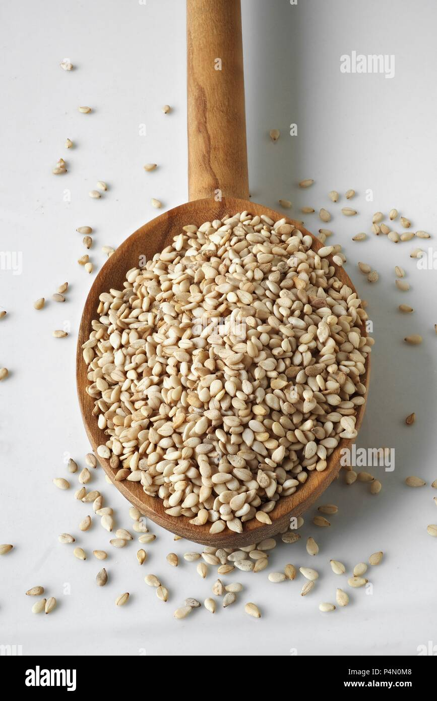 Sesame seeds on an olive wood spoon - Stock Image