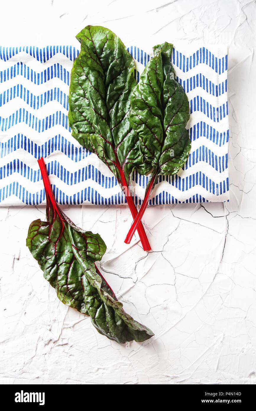 Red-stemmed chard (seen from above) - Stock Image