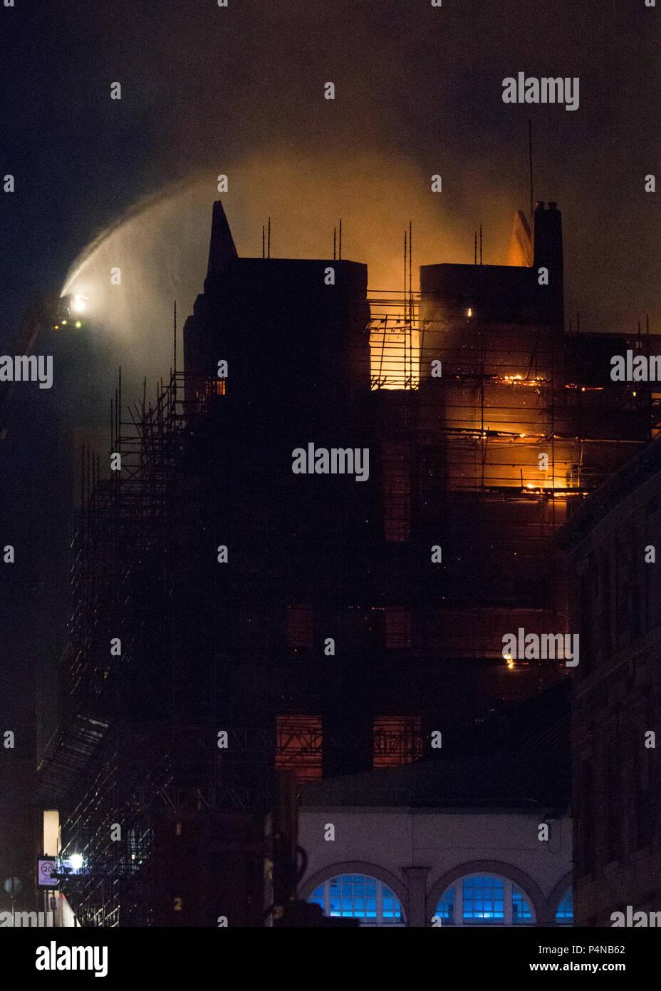 Charles Rennie Mackintosh Glasgow School of Art School fire 2018 - Stock Image