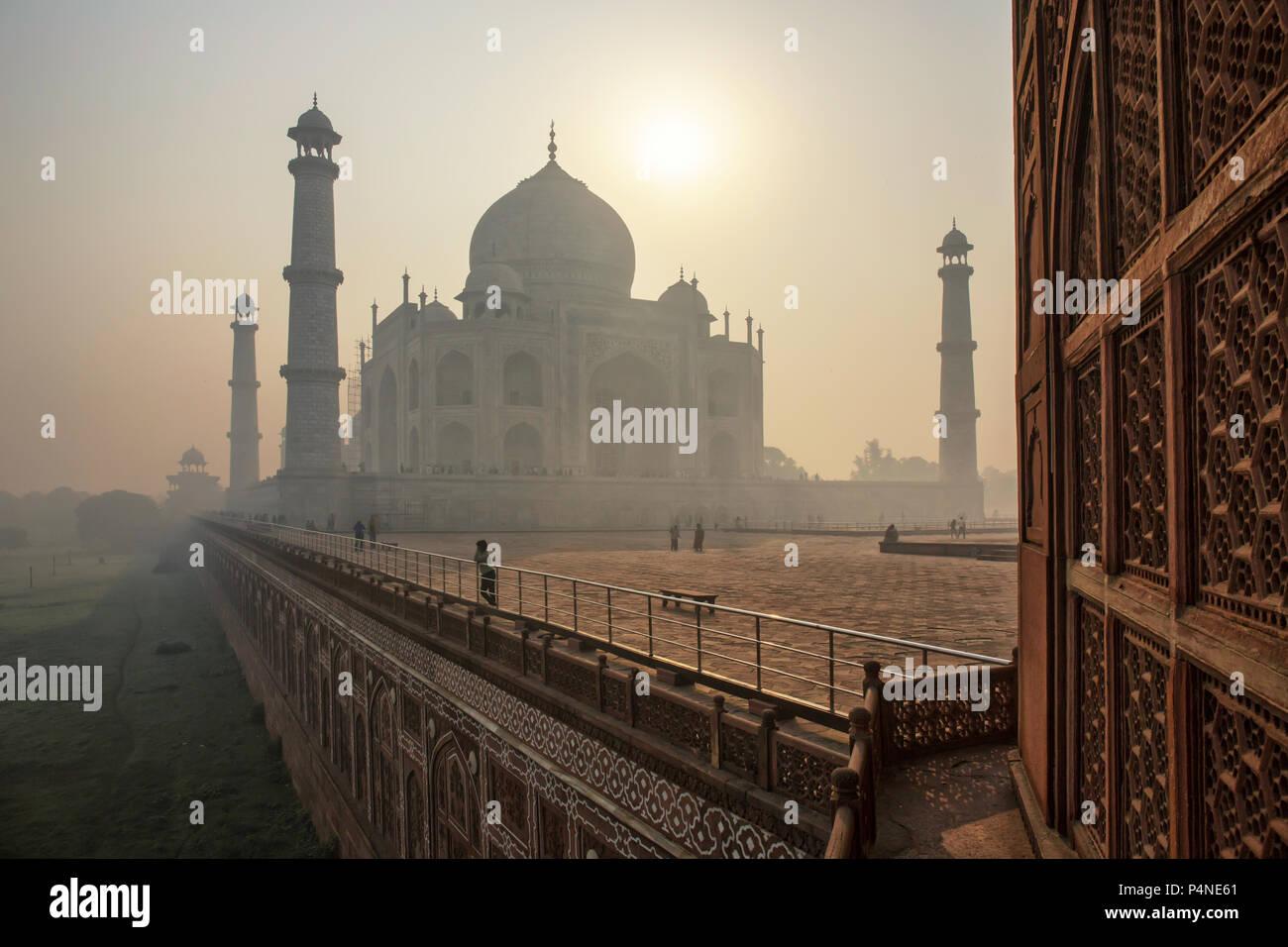 The beautiful Taj Mahal in the morning, Agra - India - Stock Image