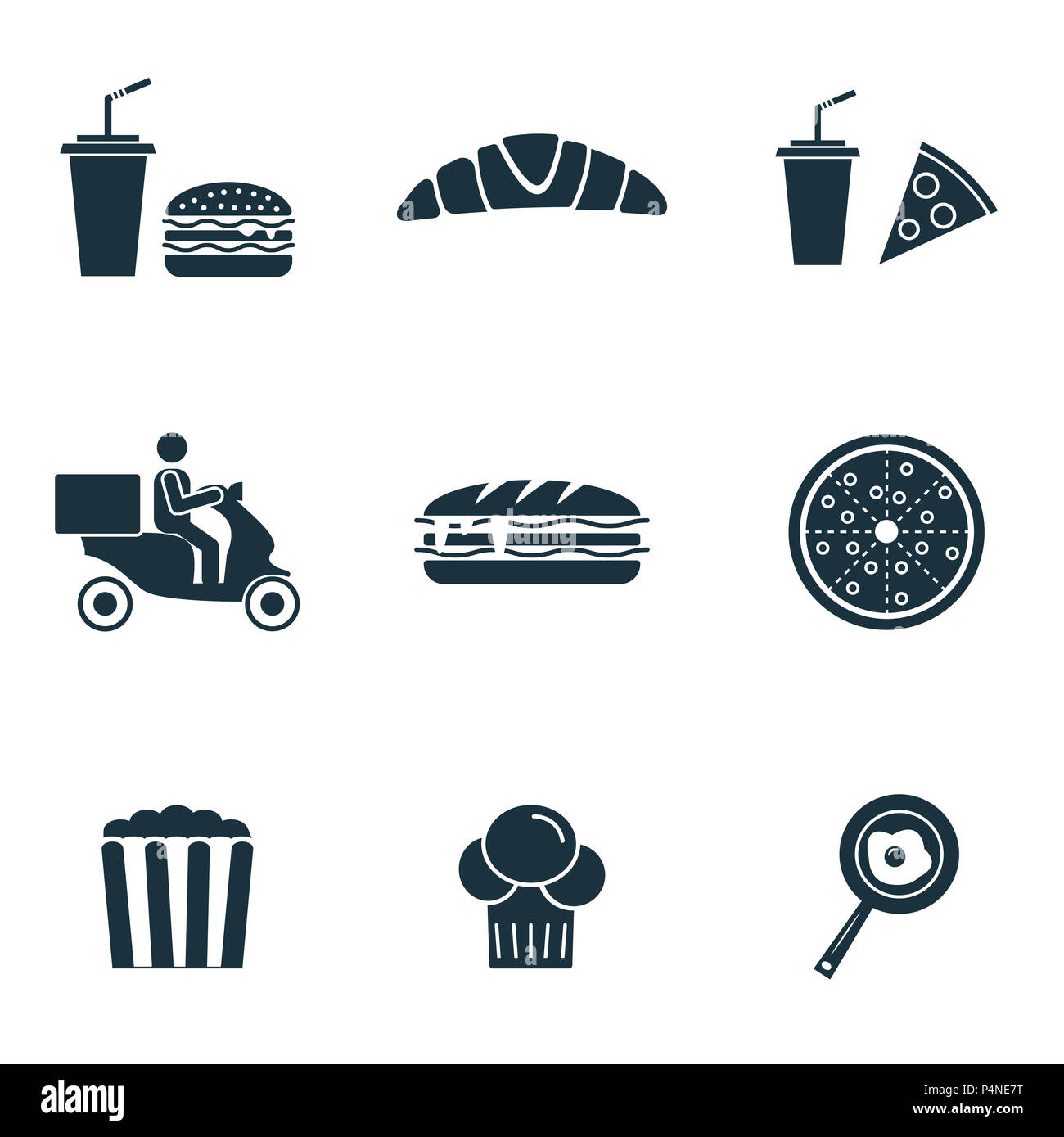 Fastfood icons set. Popcorn icon, croissant icon, pizza icon and more. Premium quality symbol collection. Fastfood icon set simple elements. - Stock Image
