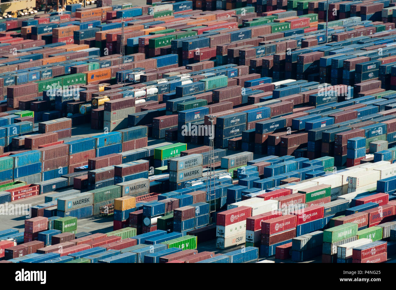 Shipping containers waiting to be loaded onto ships at Port of Barcelona - Stock Image