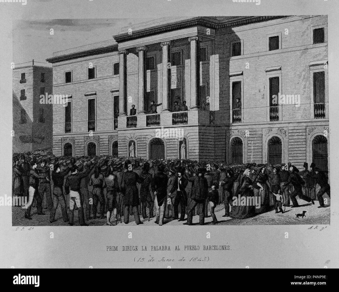 PRIM DIRIGE LA PALABRA AL PUEBLO BARCELONES - 15 DE JUNIO DE 1843 - GRABADO SIGLO XIX. Location: MUSEO ROMANTICO-GRABADO, MADRID, SPAIN. Stock Photo