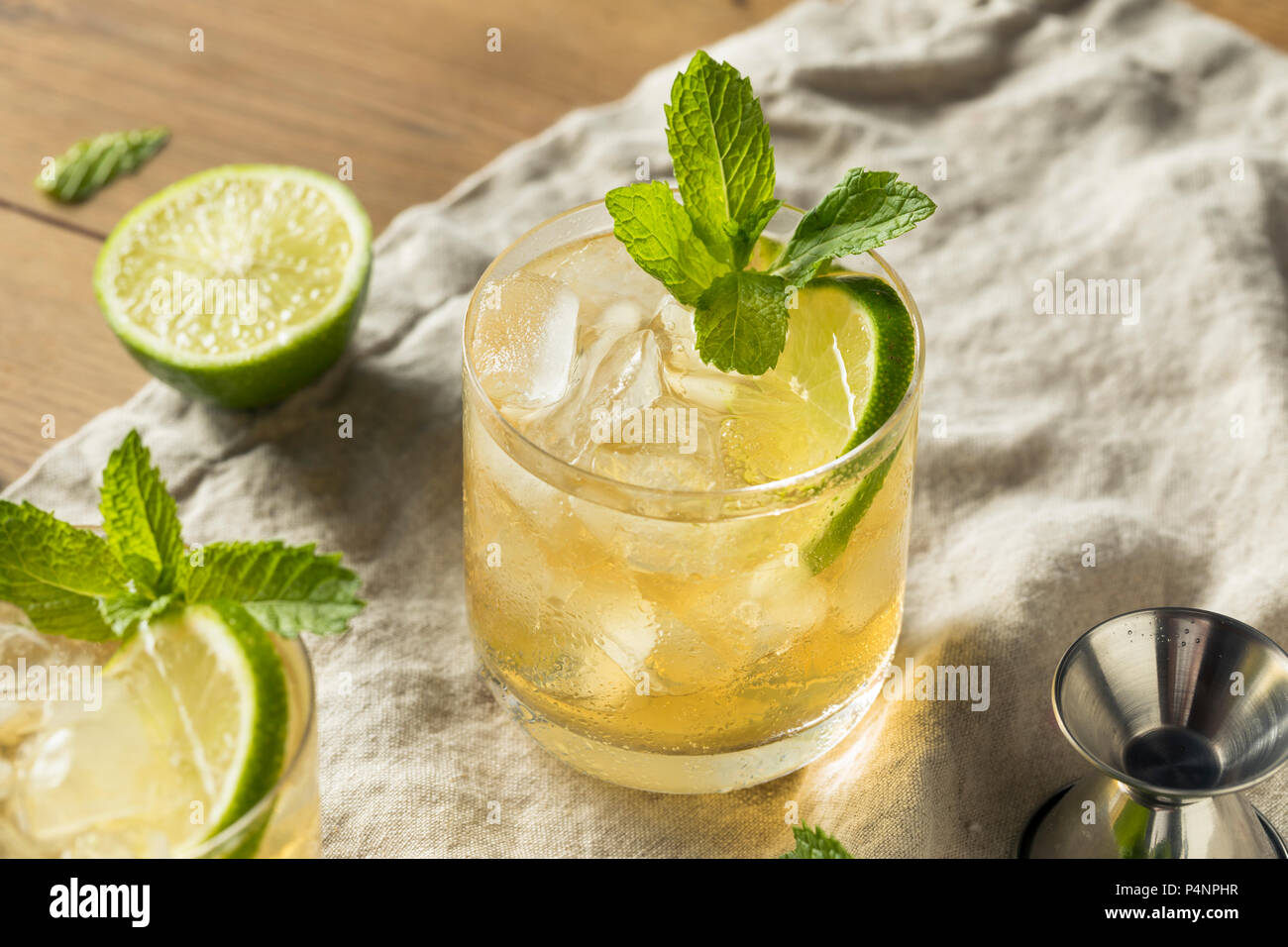 Homemade Moscow Mule with Ginger and Lime in a Regular Glass - Stock Image