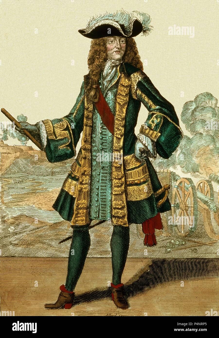 FEDERICO I REY DE PRUSIA (1657-1713)  GRABADO. Author: Abraham Allard (17th-18th cent.). - Stock Image