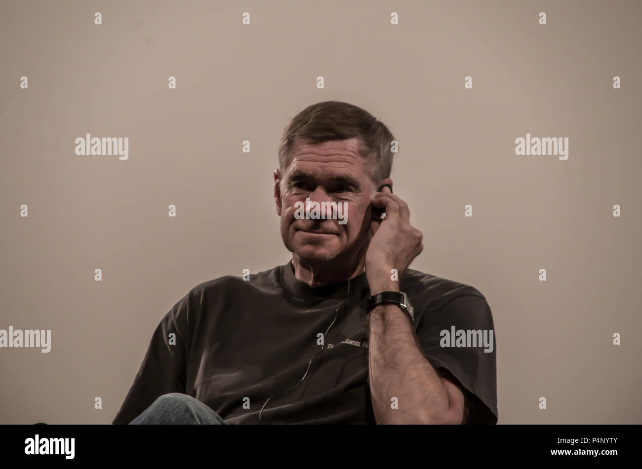 "Madrid, Spain. 22nd June 2018. Film director Gus Van Sant, who is visiting Madrid for the premiere of his latest movie ""Don't Worry, He Won't Get Far on Foot"", gave a conference at the Spanish Film Archive after a projection of ""Elephant"" as part of a cicle about his filmography. Credit: Lora Grigorova/Alamy Live News - Stock Image"