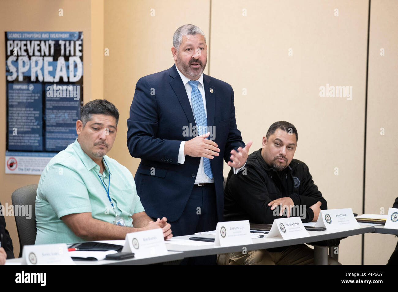 Henry Lucero, field director of ICE Enforcement and Removal Operations, speaks as federal and Texas officials and stakeholders meet in a roundtable discussion of the immigration crisis hitting the Texas-Mexico border. Confusion and public outrage reigned regarding the Trump administration's policy of separating undocumented immigrant parents from their children after crossing into the U.S. from Mexico. - Stock Image