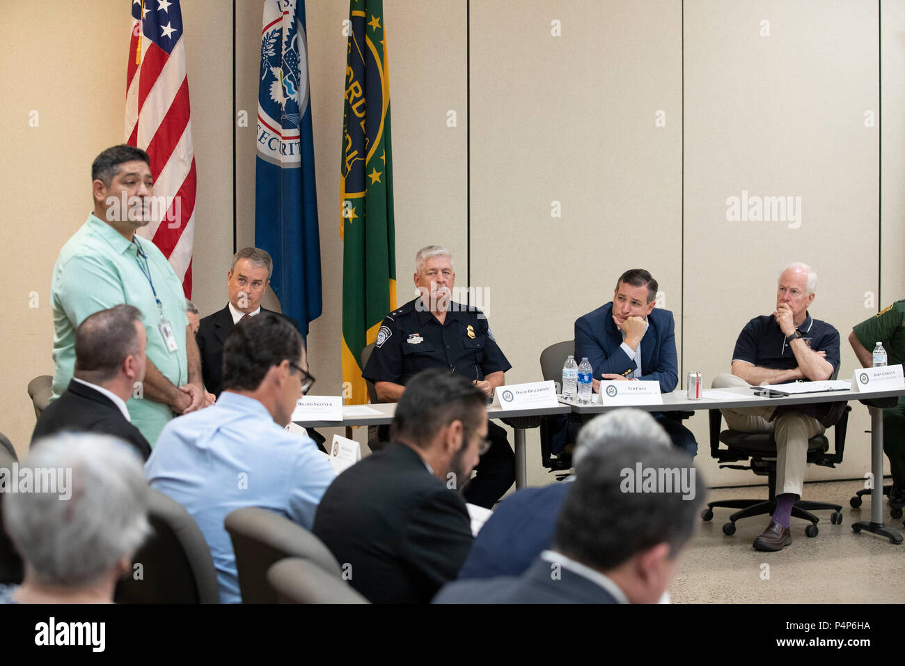 Jose Gonzales, field supervisor for the Department of Health & Human Services' Office of  Refugee Resettlement, speaks as federal and Texas officials and stakeholders meet in a round-table discussion of the immigration crisis hitting the Texas-Mexico border as confusion reigned regarding reuniting of separated parents and children. - Stock Image