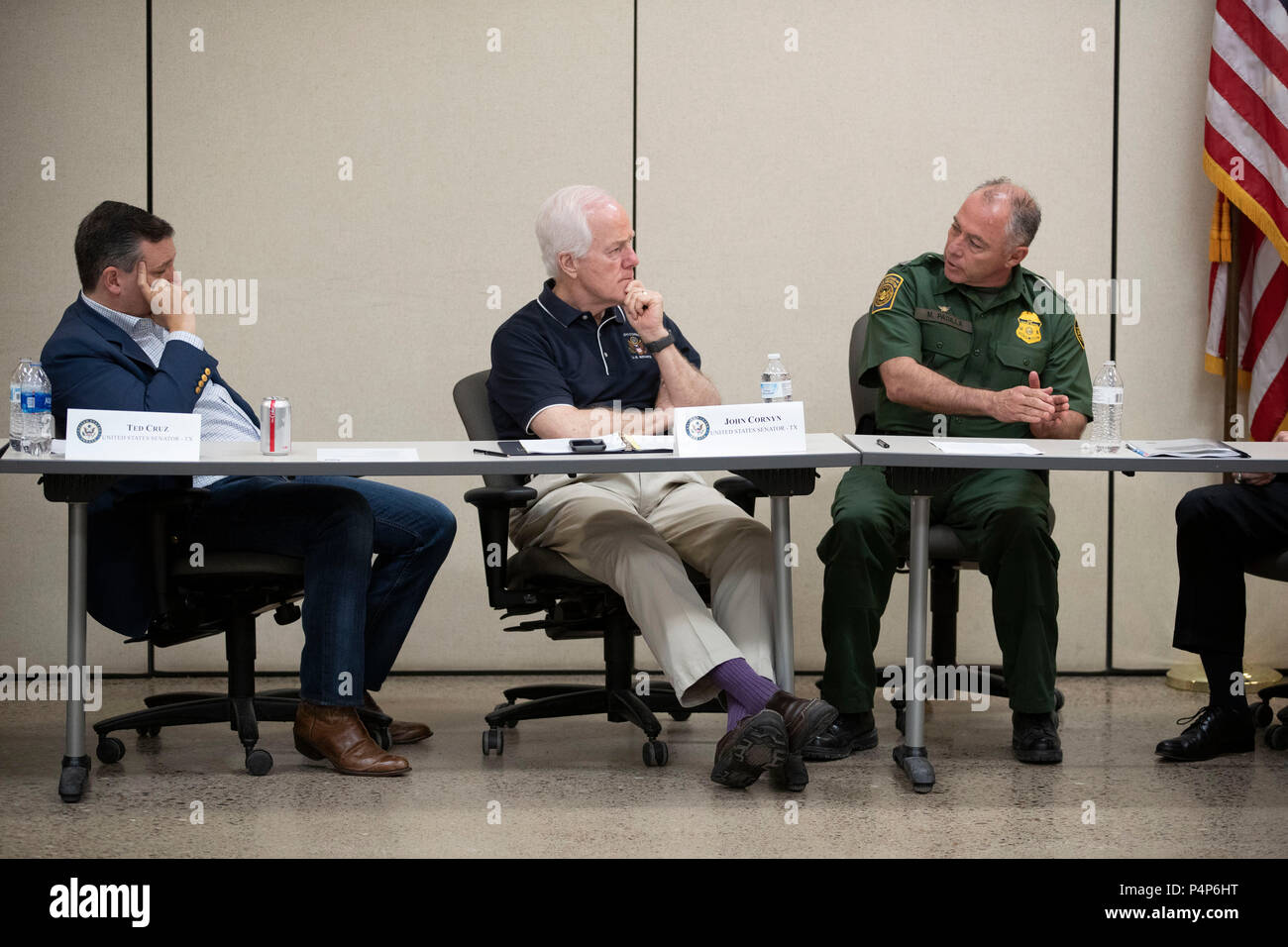 U.S. Senators Ted Cruz and John Cornyn listen as federal and Texas officials and stakeholders meet in a round-table discussion of the immigration crisis hitting the Texas-Mexico border. Confusion and public outrage reigned regarding the Trump administration's policy of separating undocumented immigrant parents from their children after crossing into the U.S. from Mexico. - Stock Image