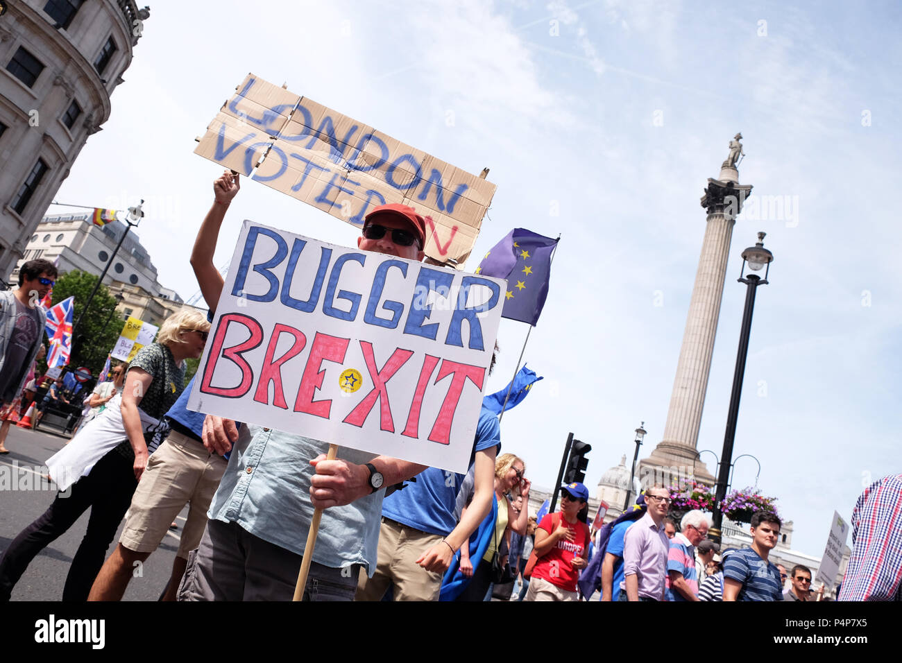 Brexit People's Vote march London UK -  Saturday 23rd June 2018 - Protestors march through Trafalgar Square en route Whitehall to demand a second vote on the final Brexit deal - Steven May /Alamy Live News - Stock Image
