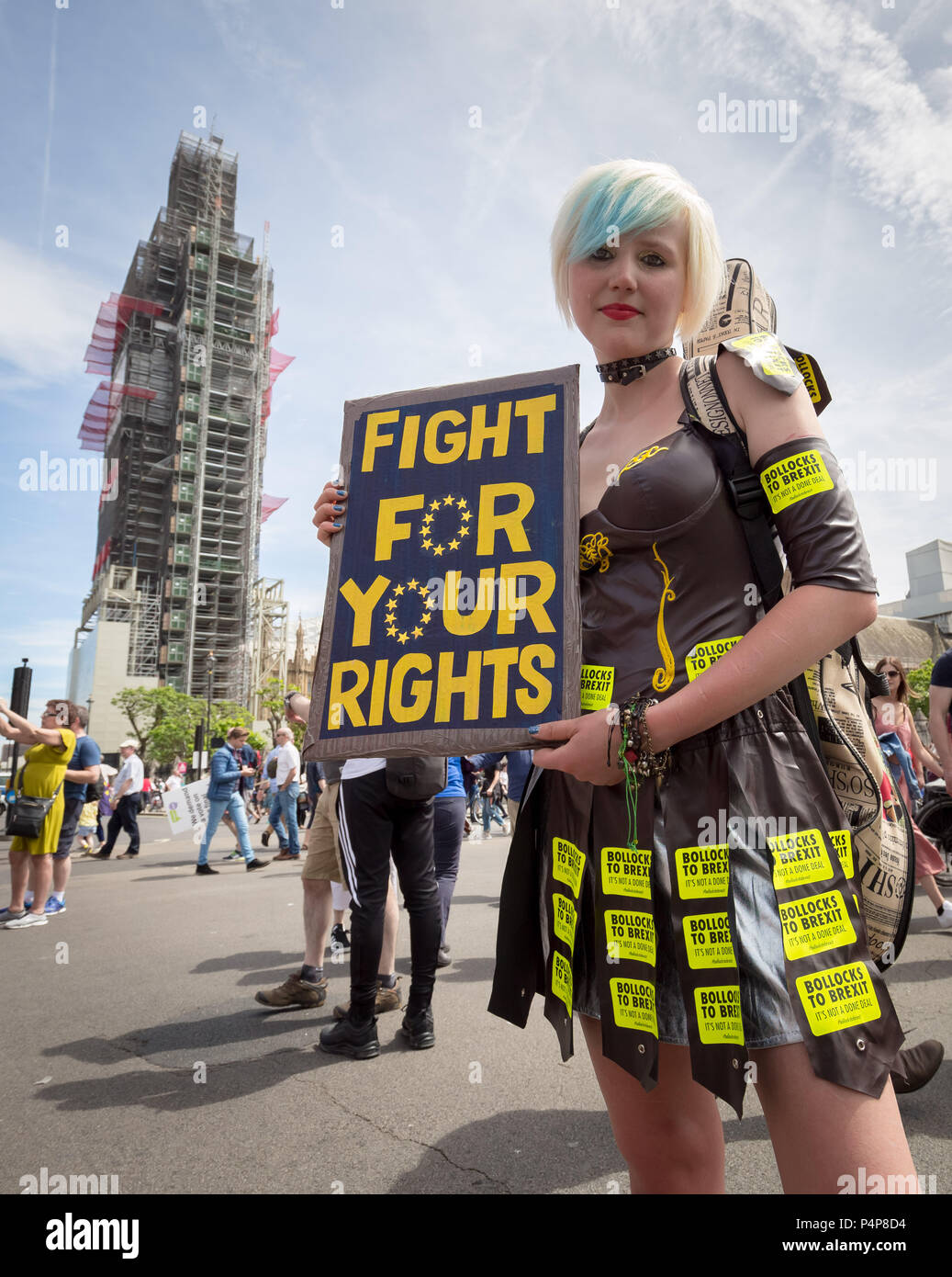 London, UK. 23rd June, 2018. Anti-Brexit Protest: Over 100,000 attend 'People's Vote' pro-EU march to demand a referendum on the terms of Brexit two years on from the vote. Credit: Guy Corbishley/Alamy Live News - Stock Image