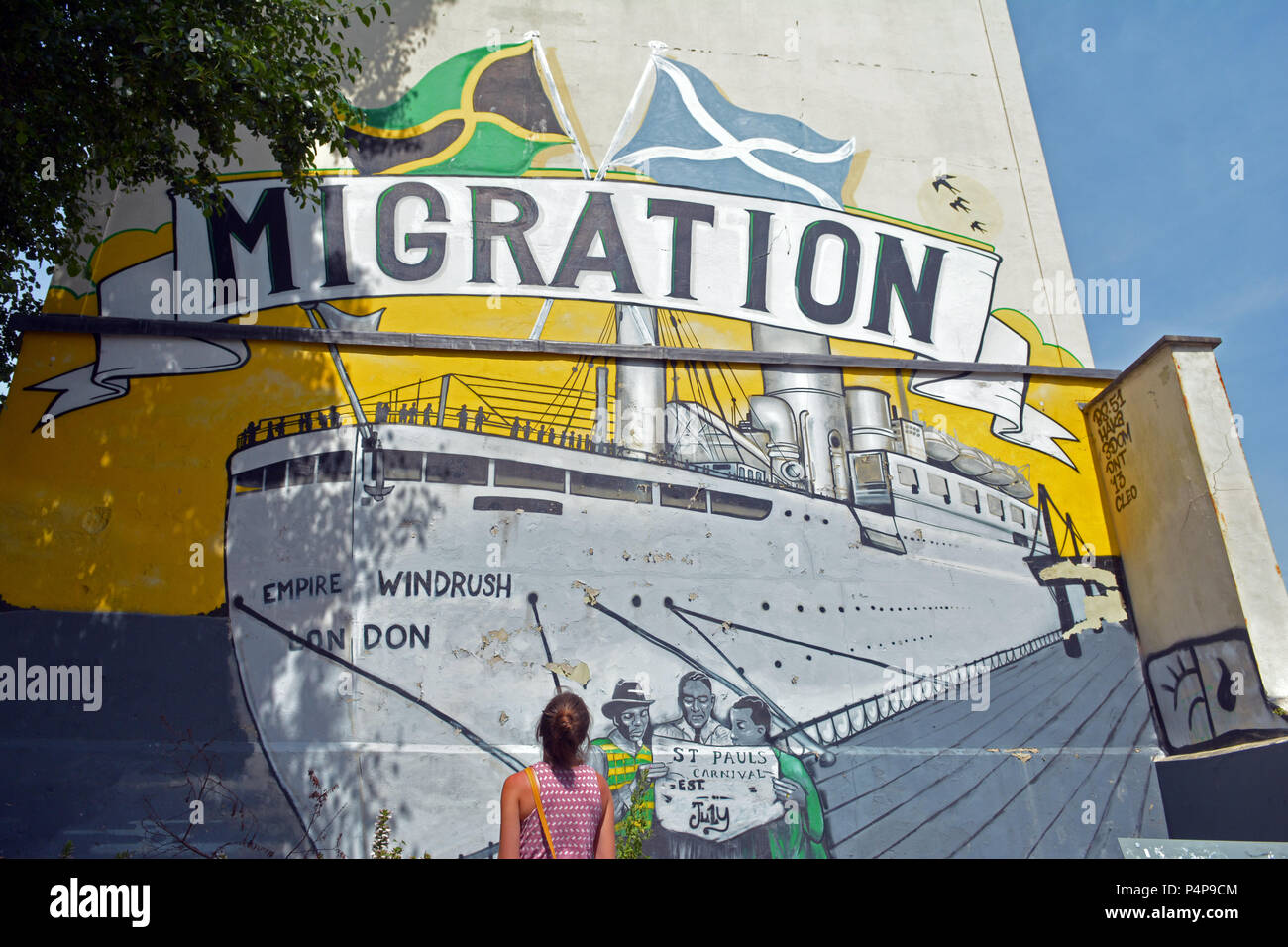 Bristol, UK. 23rd June 2018.  Empire Windrush Mural seen on the side of a Building Campbell Street, St Paul's. Its a space that celebrates the remarkable contribution of African and Caribbean men and women to this country. Robert Timoney/Alamy/Live/News - Stock Image