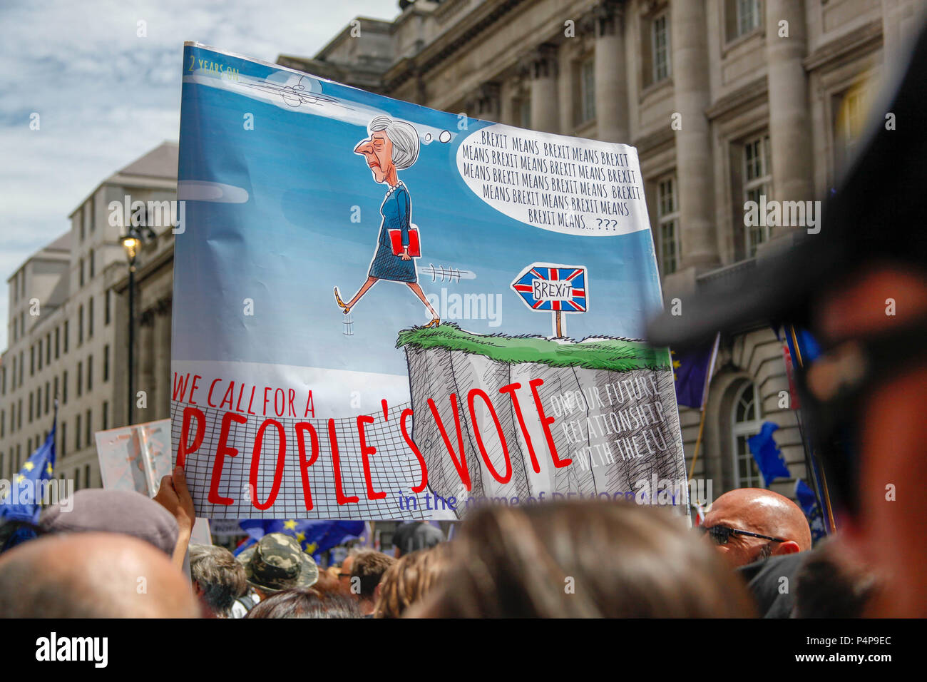 London, UK. 23rd June 2018. Poster at the People's Vote March Credit: Alex Cavendish/Alamy Live News - Stock Image