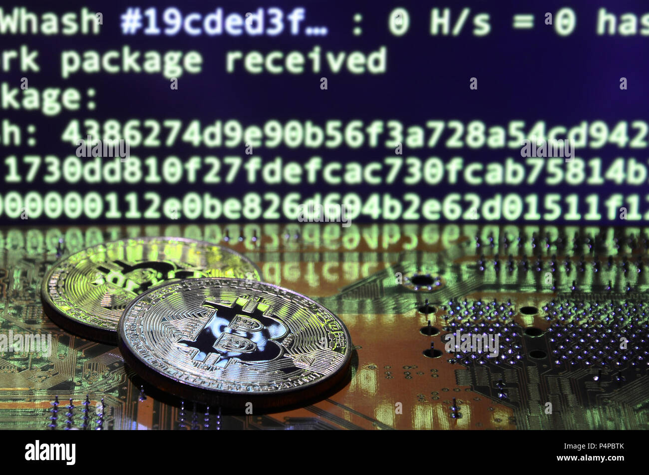 The Digital Process Of Cryptocurrency Mining By Using GPUs Bitcoins And Video Card On A Working Display Screen