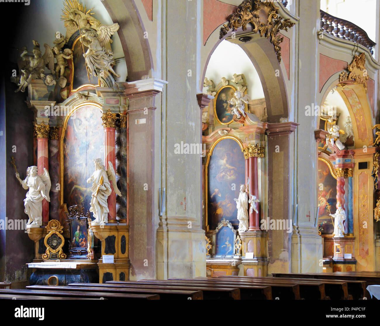 Czech Republic, Moravia, Olomouc, Our Lady of the Snows, church, interior, - Stock Image