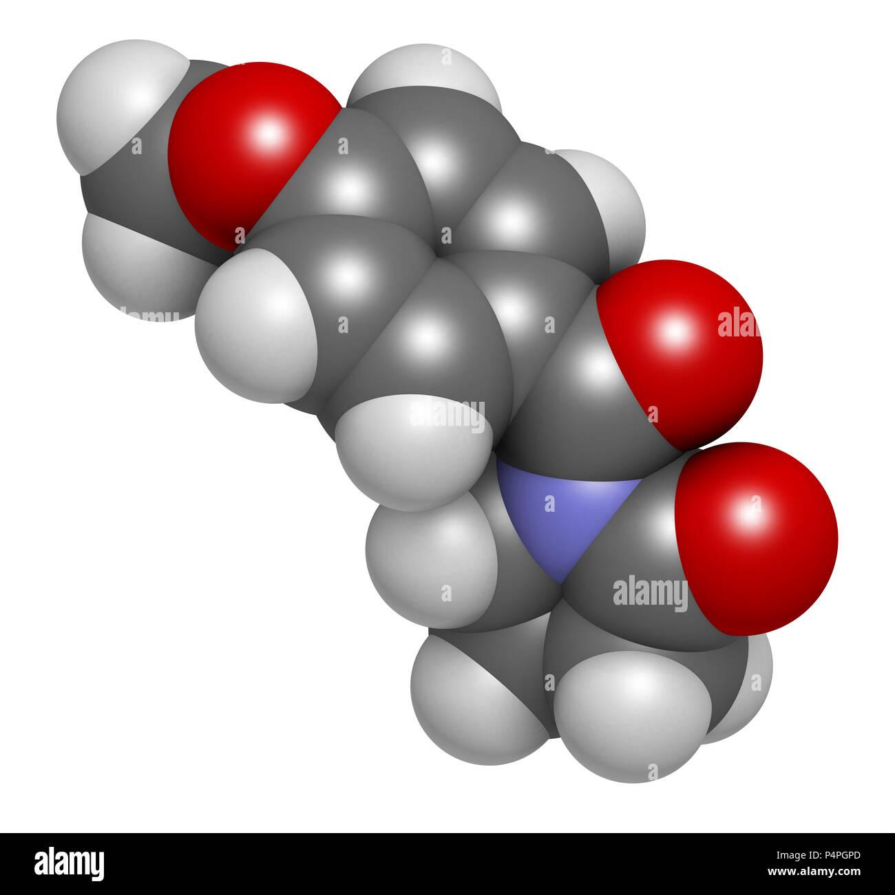 Aniracetam nootropic drug molecule  3D rendering  Atoms are