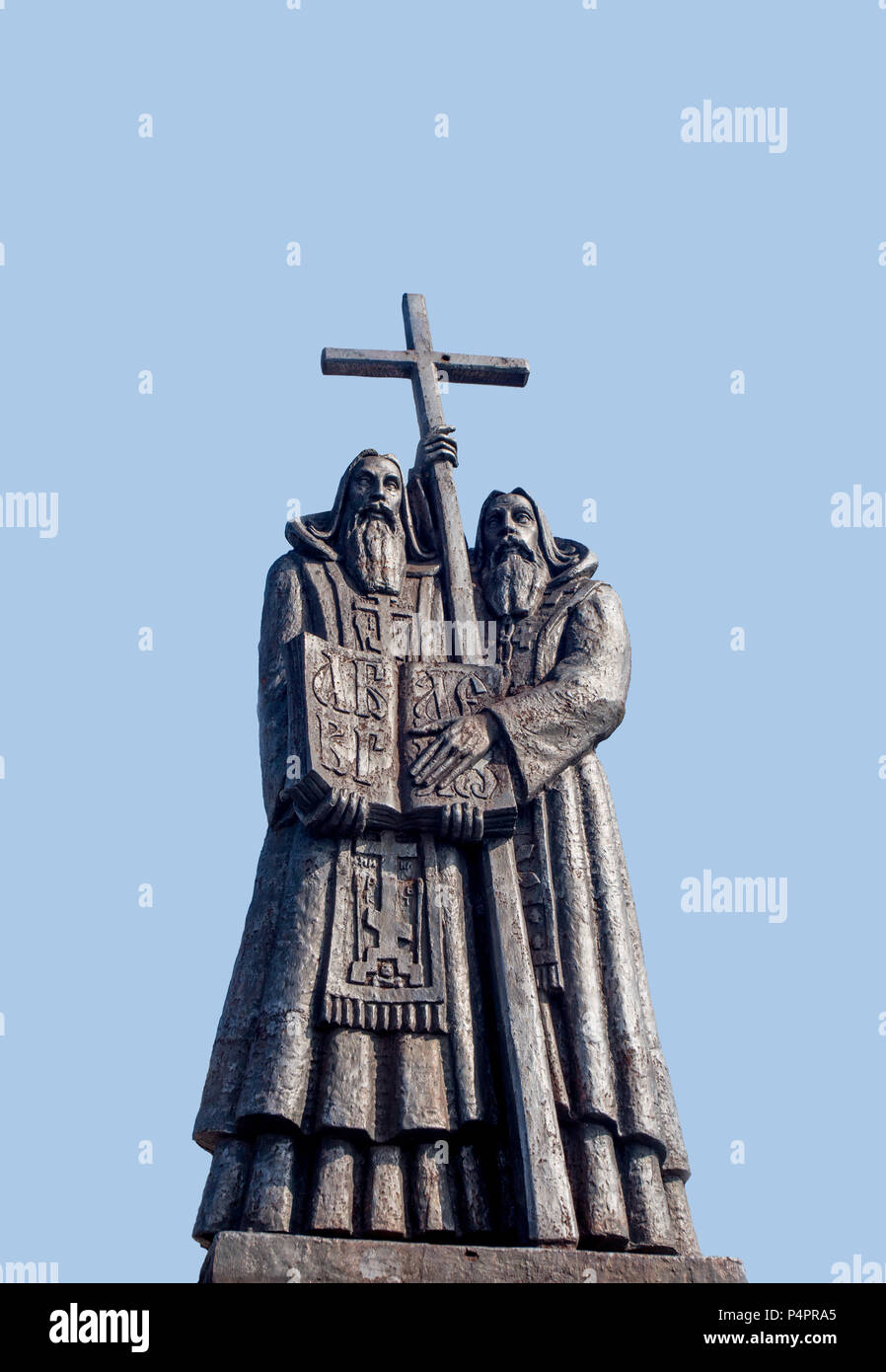 Monument to St. Cyril and St. Methodius in Russia, Vladivostok. They are credited with devising the Glagolitic alphabet. Isolated view. - Stock Image