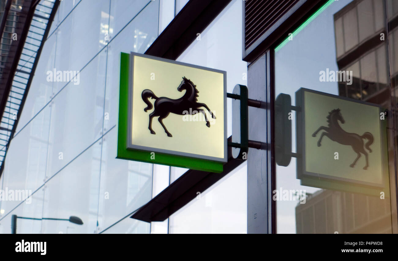 A black horse sign, representing Lloyds Bank, is seen outside a branch of the bank, in central London, Britain on June 22, 2018 - Stock Image