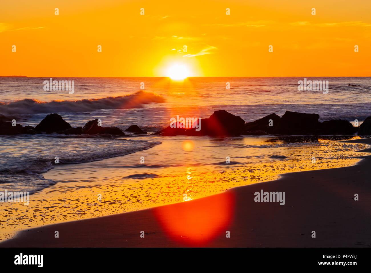 Sunset on the beach, Long Beach New york USA - Stock Image