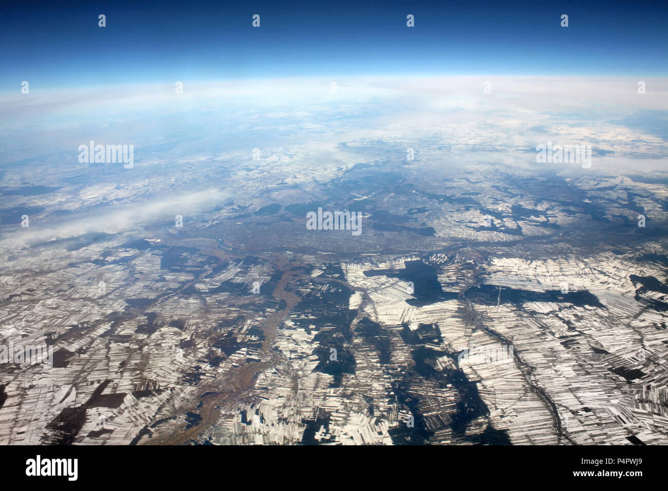 Aerial photo, view from airplane on winter. Europe from above. Aerial view of parcels. - Stock Image