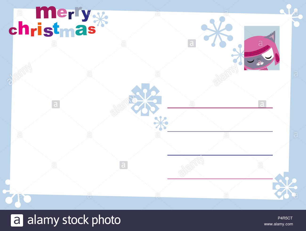 postcards r back christmas card cat 1 Stock Photo: 209492216 - Alamy