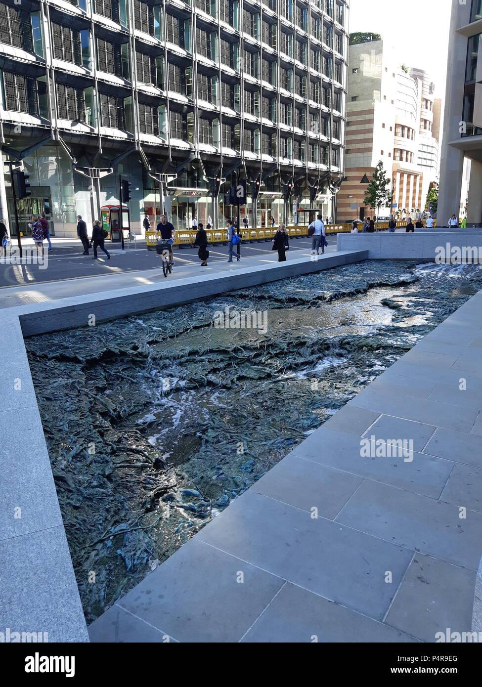 'Forgotten Streams': public artwork by Spanish artist Cristina Iglesias at Bloomberg's new European Headquarters, City of London, UK, PETER GRANT - Stock Image