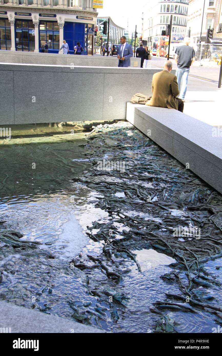 'Forgotten Streams': public artwork by Spanish artist Cristina Iglesias at Bloomberg's new European Headquarters, City of London, UK, PETER GRANT - Stock Image