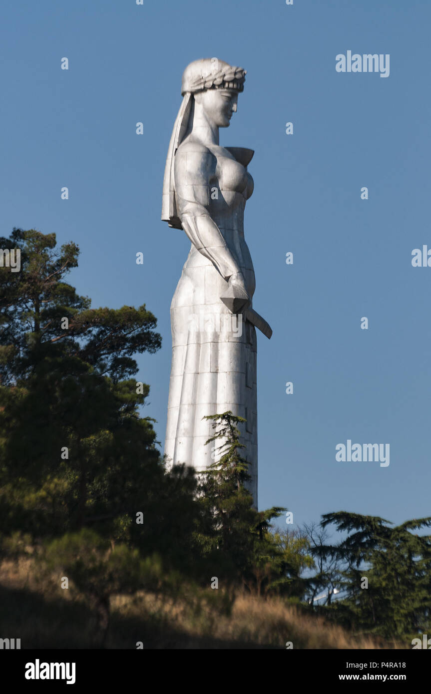 Georgia, Tbilisi, Old Town, statue of Mother Georgia, Kartlis Deda monument, erected on the top of Sololaki hill in 1958 Stock Photo