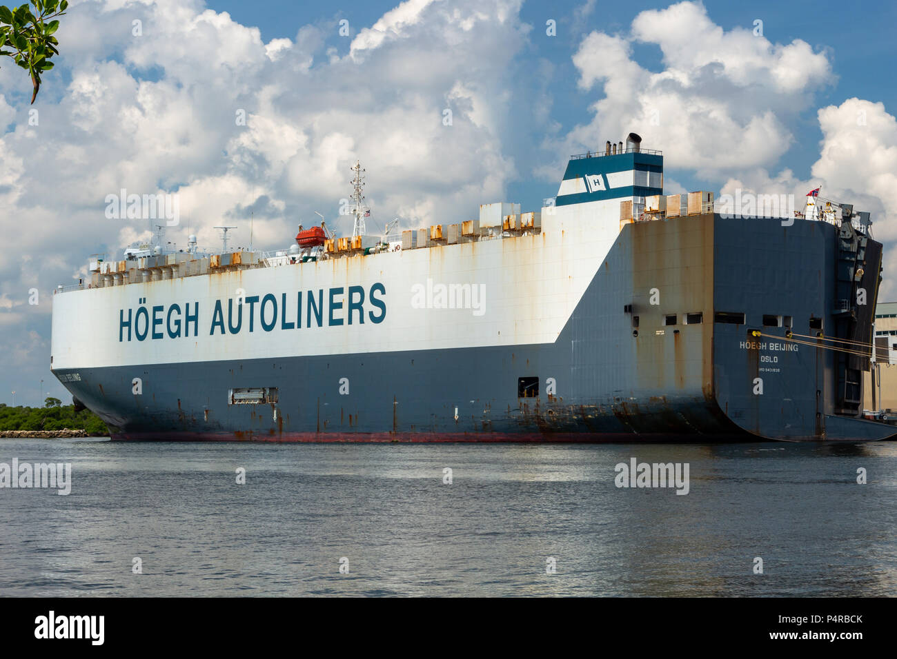 Hoegh Autoliners Pure Car and Truck Carrier ship at Port Everglades - Fort Lauderdale, Florida, USA - Stock Image