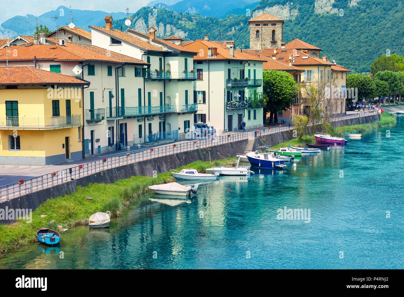 Bridge over the River Adda at Brivio, Lecco, Lombardy, Italy Stock Photo