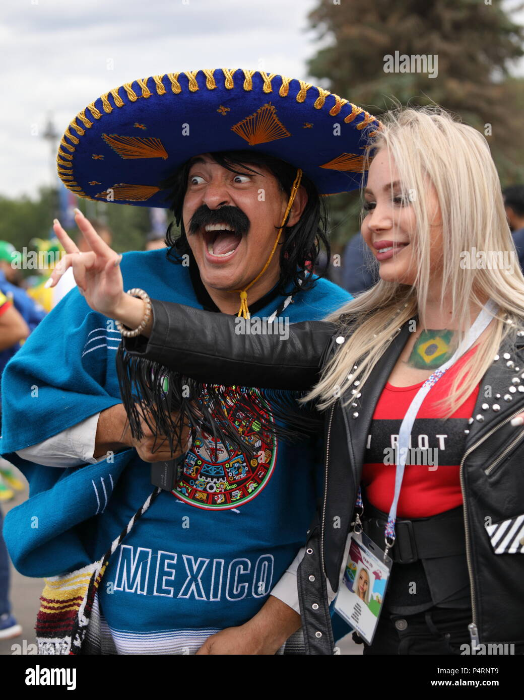 Mexican journalist in sombrero make a reportage at the Saint Petersburg stadium before the match of FIFA World Cup Brazil vs Costa Rica - Stock Image