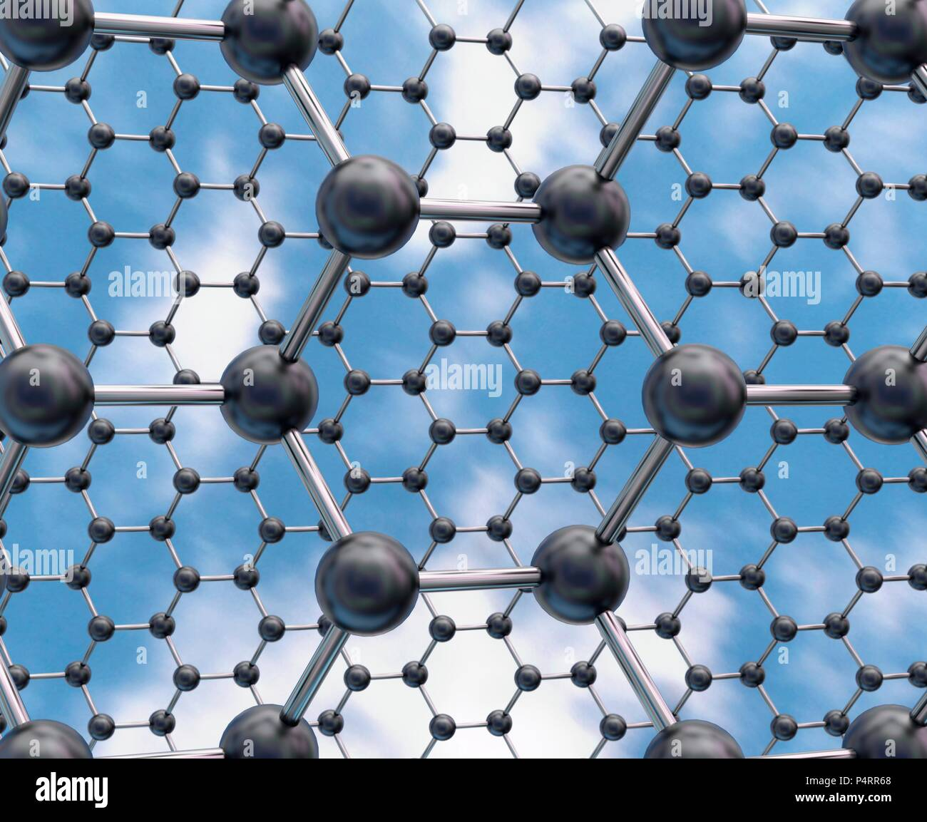Computer illustration of a molecular model of two sheets of stanene showing the low buckled structure that is predicted from density functional theory (DFT) calculations. Stanene has a similar honeycomb structure to graphene but is composed of tin atoms. With the addition of fluorine atoms, it is thought that it can achieve 100% efficiency as an electrical conductor. The first fabrication of stanene was achieved in August 2015, by researchers in America and China. Stock Photo