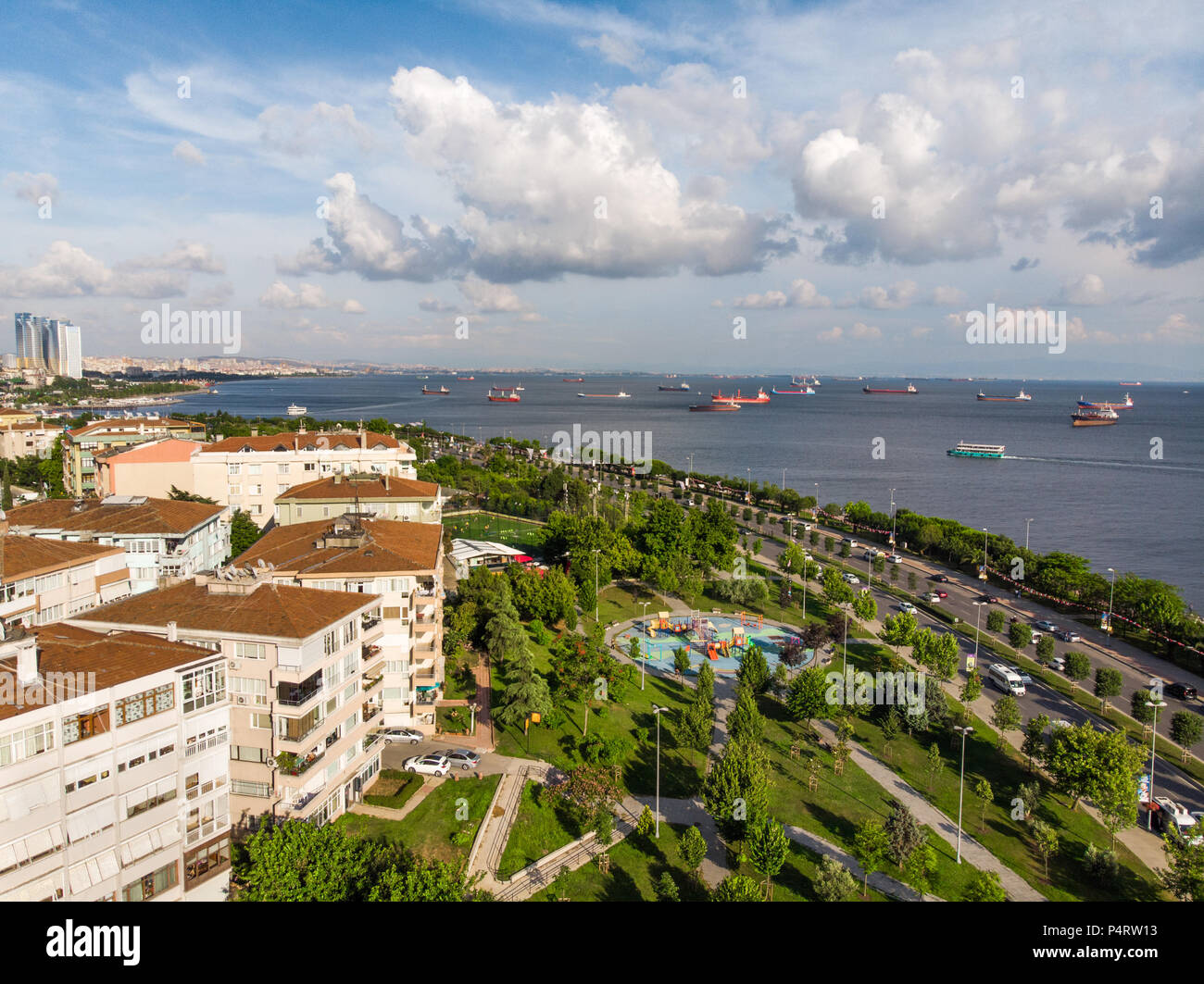 Aerial Drone View Of Kartal Istanbul City Seaside City View Stock