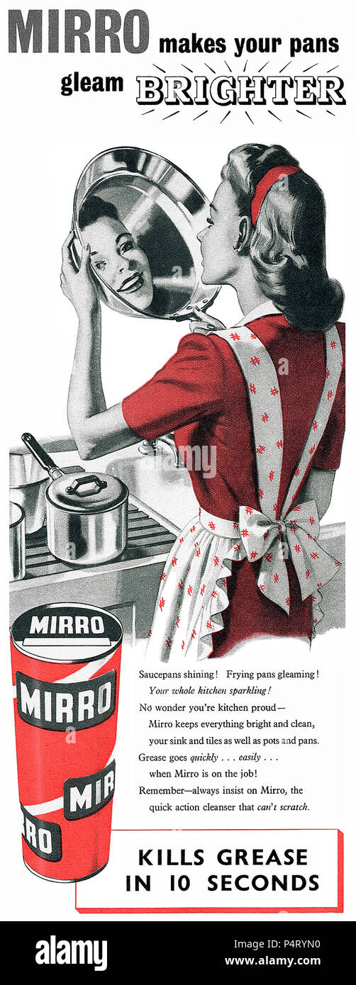 1949 British advertisement for Mirro household cleaner. - Stock Image