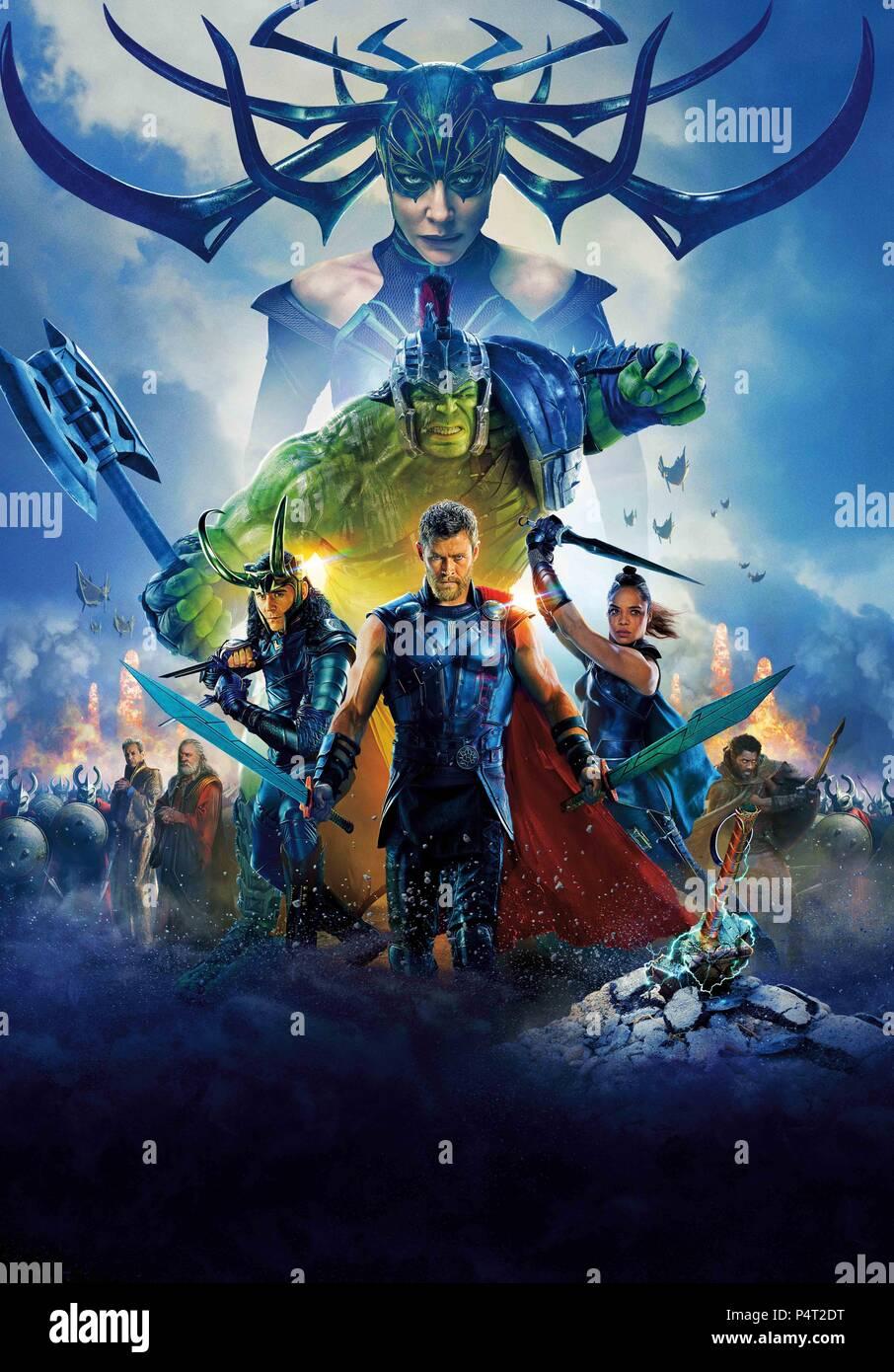 Original Film Title: THOR: RAGNAROK.  English Title: THOR: RAGNAROK.  Film Director: TAIKA WAITITI.  Year: 2017.  Stars: ANTHONY HOPKINS; MARK RUFFALO; JEFF GOLDBLUM; CATE BLANCHETT; IDRIS ELBA; TESSA THOMPSON; CHRIS HEMSWORTH; TOM HIDDLESTON. Credit: MARVEL STUDIOS/WALT DISNEY PICTURES / Album - Stock Image