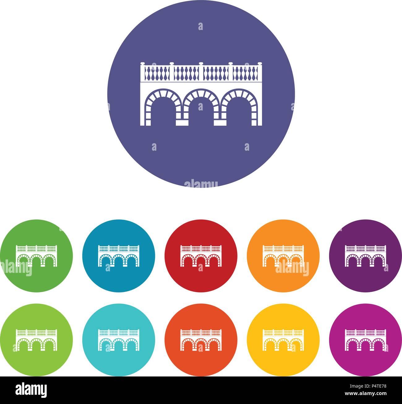 Arch bridge icons set vector color - Stock Image